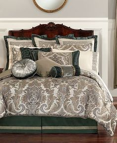 Waterford Bedding, Sale Off Bed Linens Inspired by Crystal Patterns: The Home Decorating Company Waterford Bedding, Master Bedroom, Bedroom Decor, Master Suite, Bedroom Ideas, European Pillows, King Comforter Sets, Green Rooms