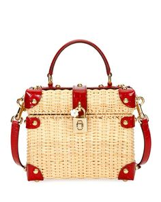 56e953d788 Dolce   Gabbana Wicker and Leather Top-Handle Bag