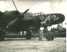 "Northrop P-61B-2-NO, s/n 42-39408, ""Lady in the Dark"", of the 548th Night Fighter Squadron. This ship was assigned to Pilot 1st Lt. (later Captain) Solie Solomon, Radar Observer 2nd Lt. John Scheerer, and Gunner-Observer Sgt. James Skiles."