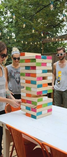 DIY Giant Jenga - The perfect way to get your outdoor fete started in style! Click to get tips from @ABeautifulMess!