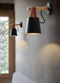 Nordic Wooden Hanging Wall Lamp With tree disc + branches / lampshade + leather straps from IKEA / lamp holder + Edison light bulb + power cable from hardware store Wooden Wall Lights, Diy Wood Wall, Wooden Lanterns, Wooden Walls, Ideas Lanterns, Ikea Wall Lights, Outdoor Wall Sconce, Wall Sconce Lighting, Wall Sconces