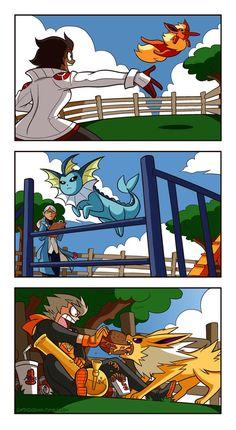 The Team Leaders of Pokemon Go training their Eeveelutions.