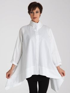 The Trapeze Top has a standing collar, long sleeves, wide hem, hidden placket and exaggerated side panels creating a tent silhouette past the bustline. 1940s Fashion, Boho Fashion, Fashion Design, Tailored Shirts, White Shirts, Minimal Fashion, Contemporary Fashion, Sewing Clothes, Blouse Designs