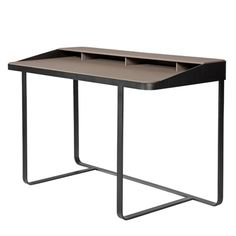 Two-tier desk with leather upholstery and a painted steel frame