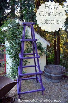 Garden Obelisk DIY: Easy Garden Obelisk Tutorial - she explains how to build this obelisk & has lots of pictures to guide you.DIY: Easy Garden Obelisk Tutorial - she explains how to build this obelisk & has lots of pictures to guide you. Obelisk Trellis, Diy Trellis, Garden Trellis, Herbs Garden, Fruit Garden, Tomato Trellis, Tomato Cages, Garden Crafts, Garden Projects