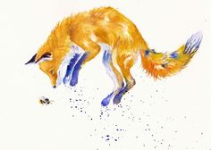 ORIGINAL WATERCOLOUR PAINTING: FOXES CATS  GreyPepperArt:   BEE SPRINGY!