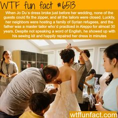 Syroam Refugee saves the wedding day - WTF fun facts Great story, but I thought it read styrofoam refugees at first. Wtf Fun Facts, Funny Facts, Random Facts, Crazy Facts, Faith In Humanity Restored, Good Deeds, The More You Know, Things To Know, Good People