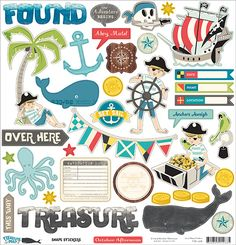 Treasure Map Cardstock Stickers October Afternoon Pirate Ship Palm Tree Gold Chest Anchor Nautical Flags Whale Ship Wheel Octopus Navigation by InkyHotMess on Etsy Planner Stickers, Scrapbook Stickers, Printable Stickers, Cute Stickers, Scrapbook Paper, Pirate Treasure Maps, October Afternoon, Nautical Flags, Scrapbook Embellishments