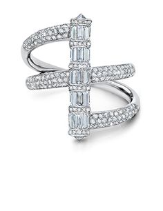 Martin Katz Diamond Baguette Cylinder Ring set in 18k white gold, with 15 invisible set baguette diamonds weighing 1.40cts, 2 round brilliant diamonds weighing 0.30cts, and microset with 166 diamonds 0.90cts.