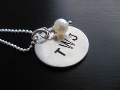 Stamped Monogram Necklace Three Letters Sterling Silver Pendant Freshwater Pearl. $30.00, via Etsy.