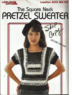 The Square neck Pretzel Sweater To Knit Pattern Book  Leisure Arts Leaflet 633 by grammysyarngarden on Etsy