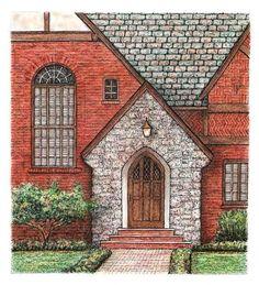 Red Brick Ohio Tudor Entryway 2 Original Pen and by ruthsartwork, $115.00