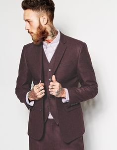 ASOS Slim Fit Suit In Herringbone Burgundy