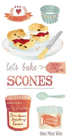 Delightful vintage inspired baking illustrations for this illustrated recipe for the classic scone Rainbow Fruit, Grilling Gifts, Food Painting, Different Vegetables, Food Drawing, Kitchen Art, Illustrations And Posters, Clipart, Food Art