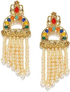 Indian Bollywood Gold Plated Multi Colour Pearl Beads Earring Partywear Jewlery Elegant Shape Hair & Head Jewelry