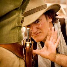 Quentin Tarantino on the set of Django Unchained, 2012