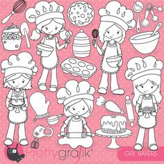 Baking girls digital stamp commercial use by Prettygrafikdesign