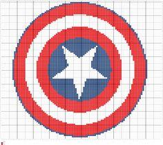 Crochet Captain America Chart, Captain America Symbol Graph Pattern, PDF Digital Files by FADesignCharts on Etsy
