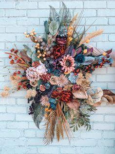 Garden Nursery Decor, Wildflower Wall Art, Floral Wall Hanging, Colorful Home Decor, Floral Arrangem Floral Wedding Decorations, Wedding Arrangements, Floral Arrangements, Wedding Flowers, Decor Wedding, Bouquet Wedding, Bridal Bouquets, Purple Wedding, Wedding Nails