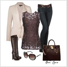 CHATA'S DAILY TIP: 'Masculine meets feminine' is one of our favourite looks! A structured jacket worn over a soft, pretty, feminine lacy top works for every personality type. Complete this gorgeous ensemble with stylish accessories in rich chocolate brown, perfect for every skin tone. COPY CREDIT: Chata Romano Image Consultant, Riana Meyer http://chataromano.com/consultant/riana-meyer/ IMAGE CREDIT: Pinterest