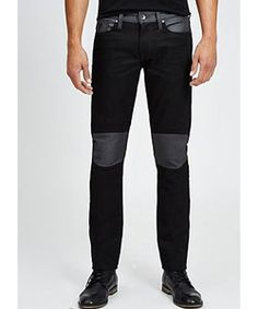Slim Tapered Moto Jeans in Smokescreen Wash 2