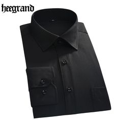 HEE GRAND 2017 Business Male Square Collar Shirt Single Breasted Comfortable Fashion Solid Men Shirts MCL1922