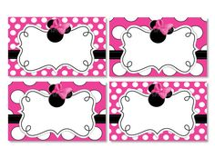 INSTANT DOWNLOAD Blank Minnie Mouse Food Tents - Pink Minnie Mouse Placecards for Birthday Party or Baby Shower