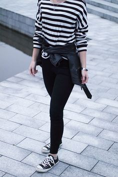 RED REIDING HOOD: Fashion blogger wearing leather jacket tied around the waist stripes top outfit converse all star sneakers