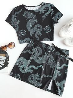Zaful / Oriental Dragon Print Two Piece Dress Teen Fashion Outfits, Edgy Outfits, Two Piece Dress, Two Piece Outfit, Cute Comfy Outfits, Cool Outfits, Estilo Harajuku, Dragon Print, Crop Top Outfits