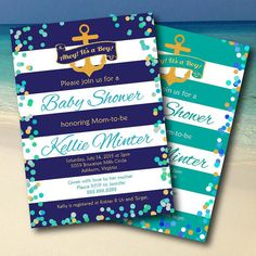 Ahoy It's a Boy Nautical Baby Shower or Sprinkle by StarfishInvitations. A fun modern design with bold stripes, confetti dot border and gold anchor. Available in navy blue or teal turquoise. Perfect for a beach or ocean theme.