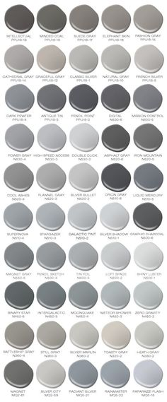 Do you love the color grey? I would paint every room in my house a different color grey! Colorfully BEHR has compiled a safe for work version of 50 Shades of Grey (paint shades that is). Paint Shades, 50 Shades, Black Shades, Grey Paint Colors, Colour Gray, Neutral Paint, Neutral Colors, Behr Exterior Paint Colors, Bluish Gray Paint