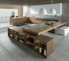 Wooden modern kitchen. genius idea for dining room table