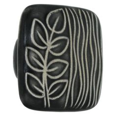 Acorn Square Hand Painted Porcelain Knob - Black And White Sea Grass | Van Dyke's Restorers® for my closet doors?
