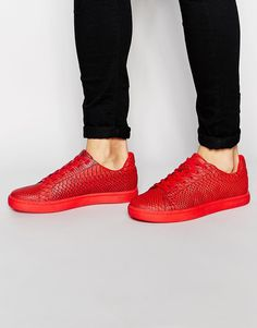 ASOS Lace Up Trainers in Red Snakeskin Effect