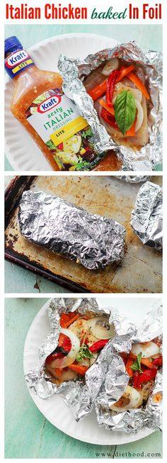 Italian Chicken and Vegetables In Foil | www.diethood.com | Flavorful, incredibly moist chicken baked in foil with peppers, onion, garlic, fresh herbs and Italian Dressing. #KraftSaladDressing #food #summer Foods Grilling Recipes #recipe