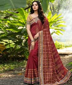 Chanderi Silk Chanderi Silk Saree, Art Silk Sarees, Red Saree, Sari, Back Neck Designs, Blouse Online, How To Dye Fabric, Festival Wear, Sleeve Styles