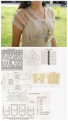 Bolero crochet diagram graph pattern guimpe hairpin