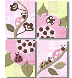Mocha Ladybugs Nursery Bedding Art Prints by art4theLITTLEpeople