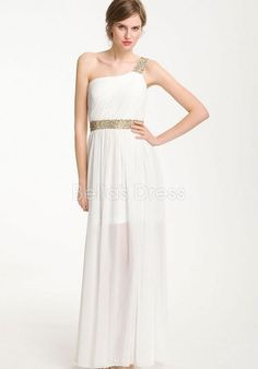 Exquisite Natural Waist A line One Shoulder Floor Length Evening Gowns