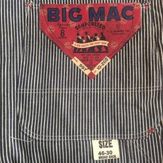 Vintage 1940s era deadstock J.C. PENNEY CO. BIG MAC hickory stripe overall with original pocket flasher. The San Fernando Valley Mercantile Co. at inspiration LA Feb 12 & 13 2016 booth 615. #vintageworkwear #vintageoveralls #newoldstock #deadstock #nos #BIGMAC #SafeTflap #JCPENNEY #8OZ #sanforized #1940s #hickorystripe #sfvmercantile #inspirationLA #inspirationLA2016 by vintageworkwear