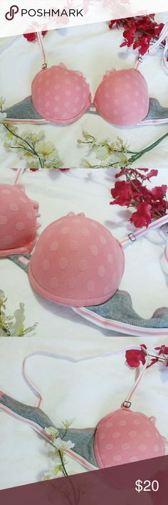 🆕 • Comfy Polka Dot Bra • Comfy Pink Gray Cotton Polka Dot Push Up Bra 34B Padded Barely used - couple times! Good condition Brand : Lei ; Victoria's Secret only for exposure! Victoria's Secret Intimates & Sleepwear Bras
