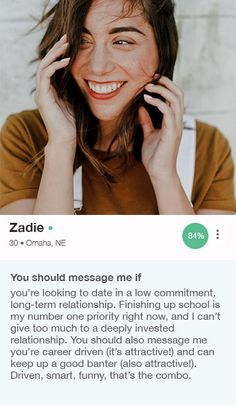 sample dating profile for a woman