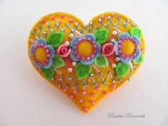 Pretty Felt Beaded Heart