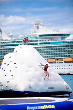 Splash into the Caribbean from icebergs, in-water trampolines and other water toys at the Arawak Aqua Park.