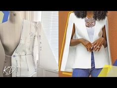 CAPE BLAZER PATTERN TUTORIAL | KIM DAVE - YouTube Cape Pattern, Blazer Pattern, Jacket Pattern, Circle Skirt Pattern, Pattern Draping, Bodice Pattern, Sleeve Pattern, Pattern Drafting Tutorials, Sewing Tutorials