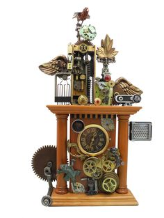 """""""Jeweled Mantle Clock"""" found object clock assemblage by Assemblique™"""