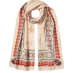 Zadig & Voltaire Printed Scarf (€169) ❤ liked on Polyvore featuring accessories, scarves, pink, pink shawl, cotton scarves, pink scarves, skull scarves and cotton shawl
