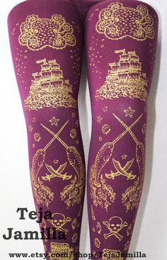 Narwhal Printed Tights Small Medium Gold on by TejaJamilla on Etsy, $25.65