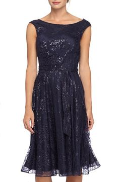 Tahari Sequin Lace Fit & Flare Dress available at #Nordstrom