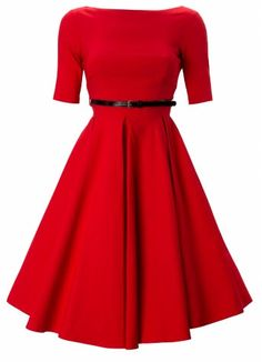 Red Hepburn retro shift dress